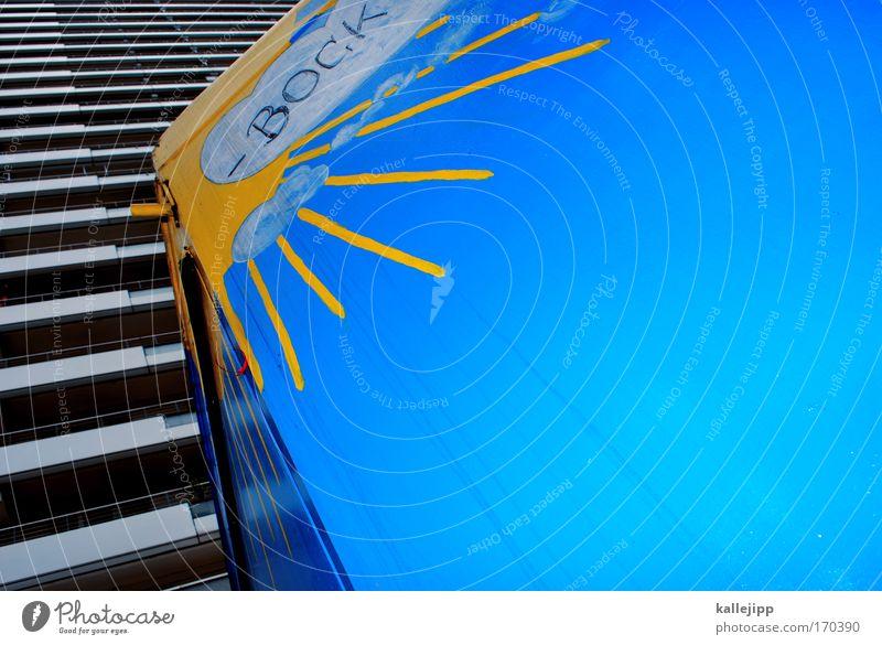 bock blau zu machen Farbfoto mehrfarbig Menschenleer Textfreiraum rechts Tag Kontrast Sonnenlicht Sonnenstrahlen Sonnenaufgang Sonnenuntergang Vogelperspektive