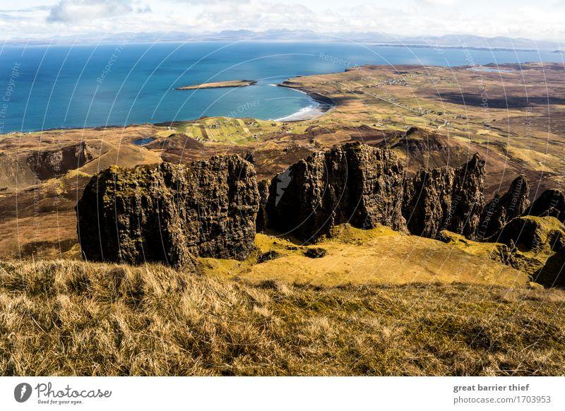 Isle Of Skye Küste mit Felsen Umwelt Natur Landschaft Tier Wasser Himmel Wolken Horizont Frühling Wetter Schönes Wetter Wind Hügel Berge u. Gebirge Wellen