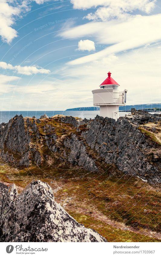 Leuchtfeuer Ferien & Urlaub & Reisen Ferne Sonne Meer Technik & Technologie Urelemente Luft Wasser Himmel Wolken Sommer Schönes Wetter Felsen Küste Leuchtturm