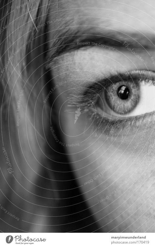 determined Mensch Jugendliche Gesicht Auge Junge Frau feminin Haare & Frisuren Kopf Denken träumen Kraft Haut warten beobachten Unendlichkeit fest