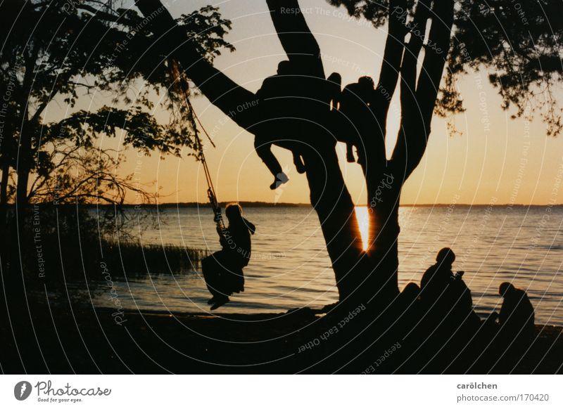 Seele BAUMeln Mensch Jugendliche Wasser Baum Ferien & Urlaub & Reisen ruhig Erholung Menschengruppe träumen See Freundschaft Zufriedenheit Zusammensein Kindheit genießen