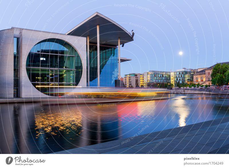 Kanzleramt bei Vollmond Ferien & Urlaub & Reisen Tourismus Sightseeing Städtereise Wasser Nachthimmel Flussufer Uferpromenade Berlin Deutschland Stadt