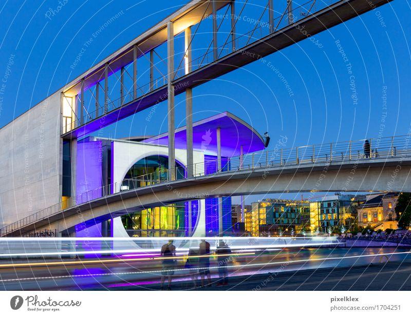 Kanzleramt bei Nacht Tourismus Sightseeing Städtereise Nachtleben Fluss Spree Berlin Deutschland Stadt Hauptstadt Haus Brücke Bauwerk Gebäude Architektur