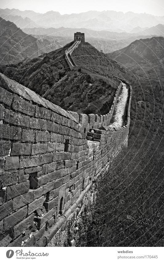 Chinesische Mauer bei Mutianyu alt Ferien & Urlaub & Reisen Ferne Wand Berge u. Gebirge Mauer Wege & Pfade Landschaft Architektur wandern groß Tourismus Turm Asien Unendlichkeit