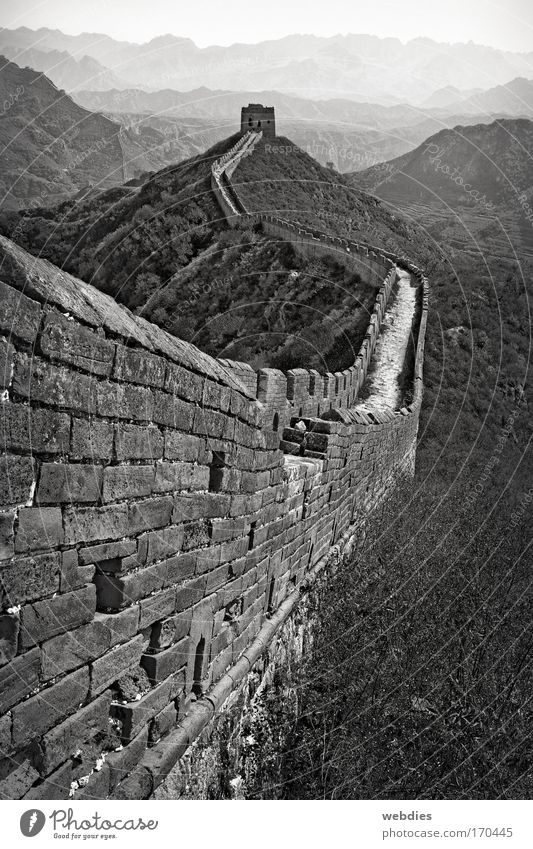 Chinesische Mauer bei Mutianyu alt Ferien & Urlaub & Reisen Ferne Wand Berge u. Gebirge Wege & Pfade Landschaft Architektur wandern groß Tourismus Turm Asien