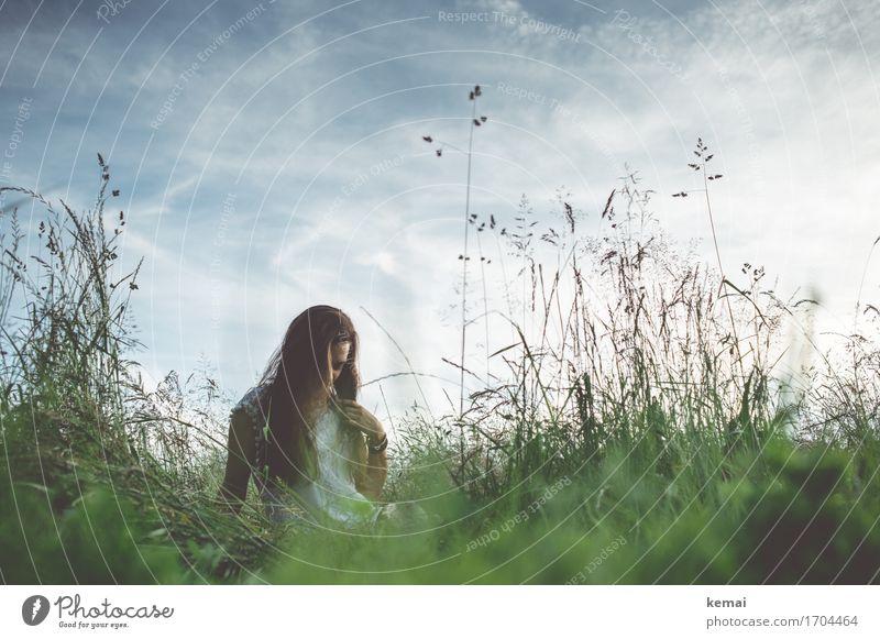 Sommerabend Mensch Himmel Natur Jugendliche Pflanze Junge Frau Erholung Wolken ruhig 18-30 Jahre Erwachsene Wärme Leben Wiese Gras