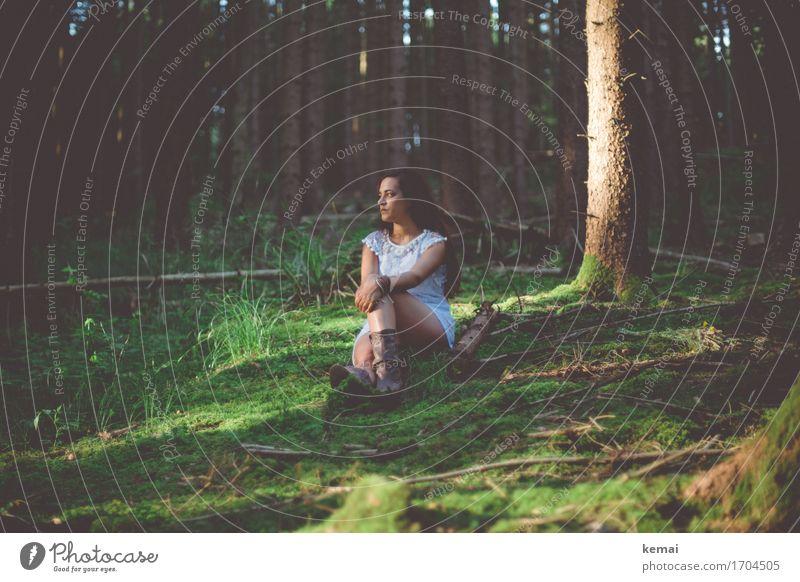 Waldmaid II Lifestyle Stil ruhig Sommer Mensch feminin Junge Frau Jugendliche Erwachsene Leben 1 18-30 Jahre Natur Schönes Wetter Baum Moos Kleid Stiefel
