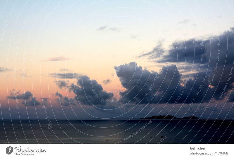 pastellig Himmel schön Strand Ferien & Urlaub & Reisen Meer Wolken Ferne Freiheit Glück träumen Küste Wellen Zufriedenheit Insel Tourismus Bucht