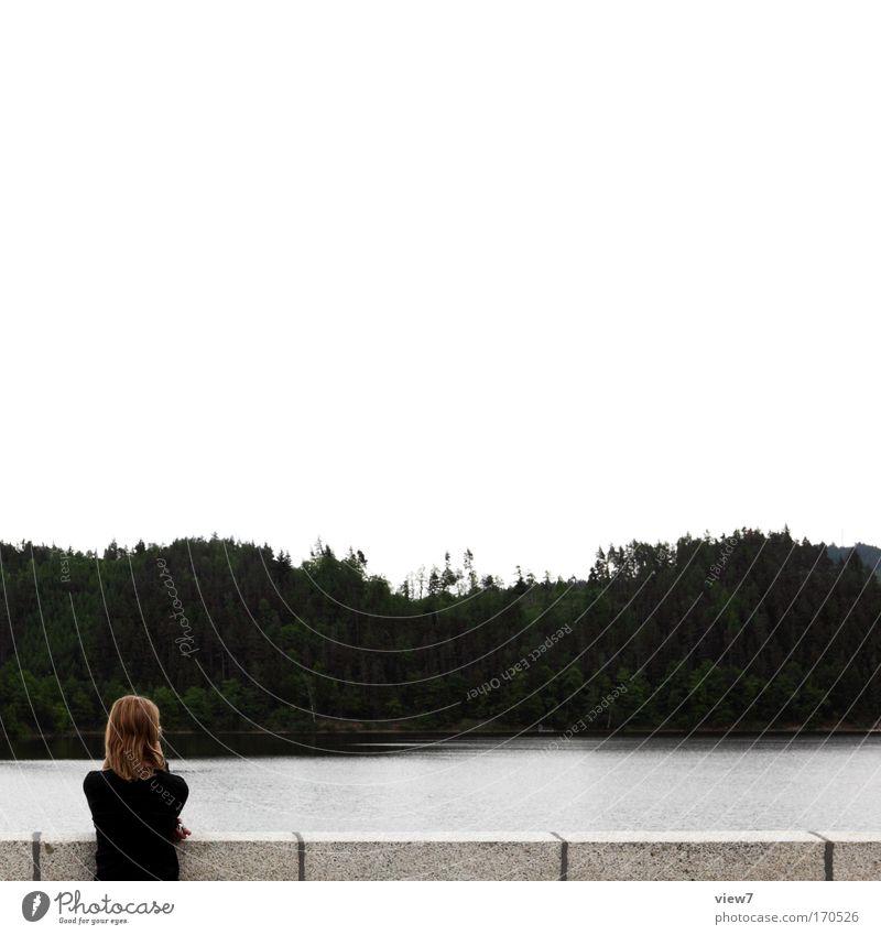 Die Welt verändern Mensch Frau Himmel Natur Wasser schön Ferien & Urlaub & Reisen ruhig Erwachsene Ferne Erholung Umwelt dunkel Kopf Haare & Frisuren Denken