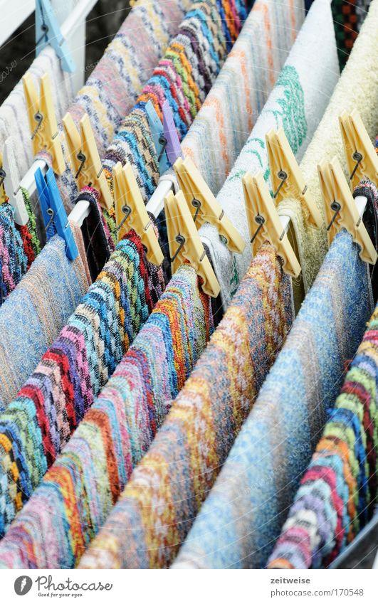 feierabend Wohnung frisch Ordnung Sauberkeit Duft anstrengen Seil Haushalt geduldig Klischee Handtuch Wäscheleine fleißig Reinheit Wäscheklammern penibel