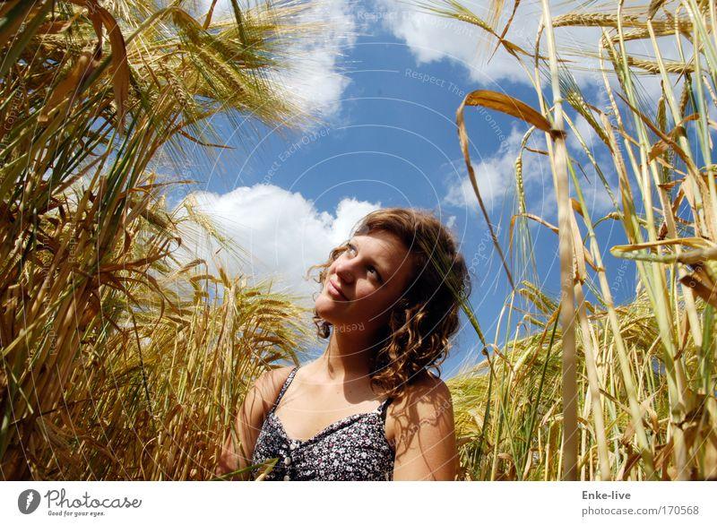 look where the sun shines Natur Jugendliche blau schön Freude gelb Erholung feminin Gefühle Glück Denken Gesundheit Zufriedenheit Feld glänzend natürlich