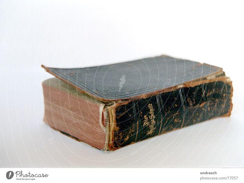 Heilige Schrift Bibel heilig Buch Religion & Glaube Gebet Dinge alt Lesestoff Freisteller Vor hellem Hintergrund Studioaufnahme Textfreiraum oben schäbig