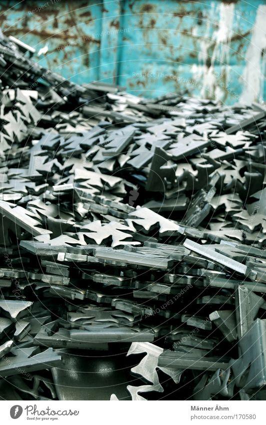 Ausschussverfahren. weiß blau grau Metall Zeichen Stahl Rost silber Ornament