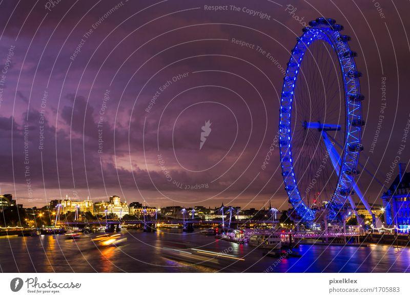 London Eye an der Themse Ferien & Urlaub & Reisen Tourismus Ausflug Sightseeing Städtereise Nachtleben Wasser Himmel Wolken Nachthimmel Horizont Sonnenaufgang