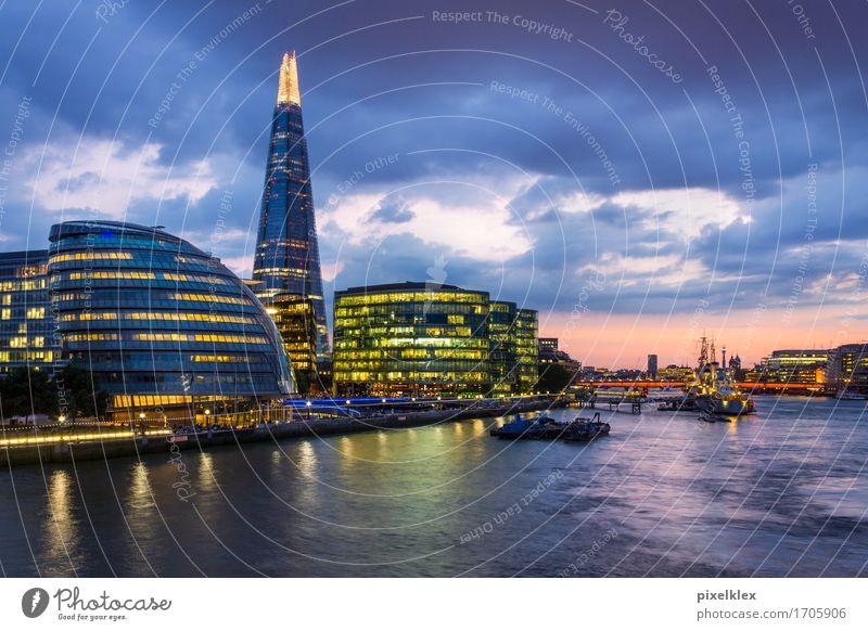 London bei Nacht (The Shard) Ferien & Urlaub & Reisen Stadt Wasser Haus Architektur Gebäude Business Tourismus modern Hochhaus Erfolg hoch Spitze Turm Fluss