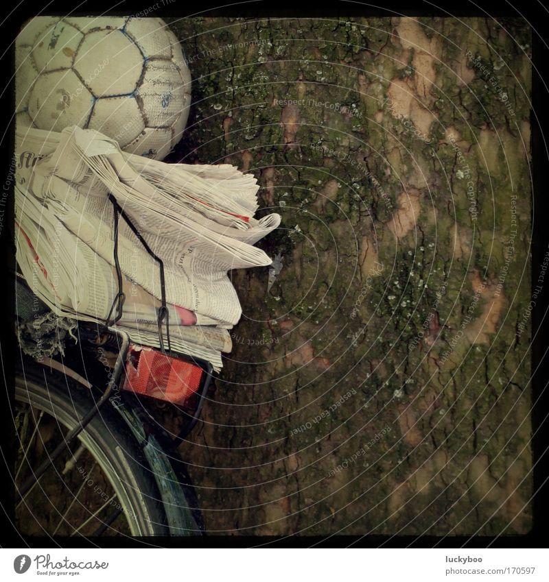 Freizeitutensil grün Baum rot Freude Spielen braun Fahrrad Freizeit & Hobby Fußball lernen Bildung Ball Zeitung Lebensfreude Baumstamm Printmedien
