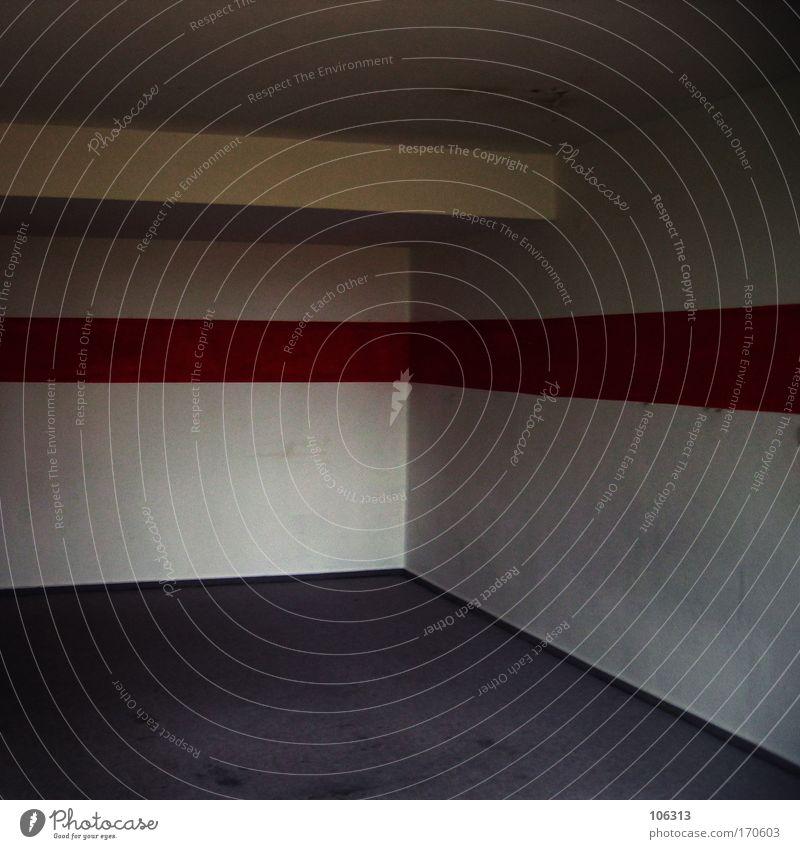Fotonummer 126507 weiß rot ruhig Einsamkeit Wand Raum Wohnung Design leer Ecke Innenarchitektur Streifen Häusliches Leben Umzug (Wohnungswechsel) Renovieren