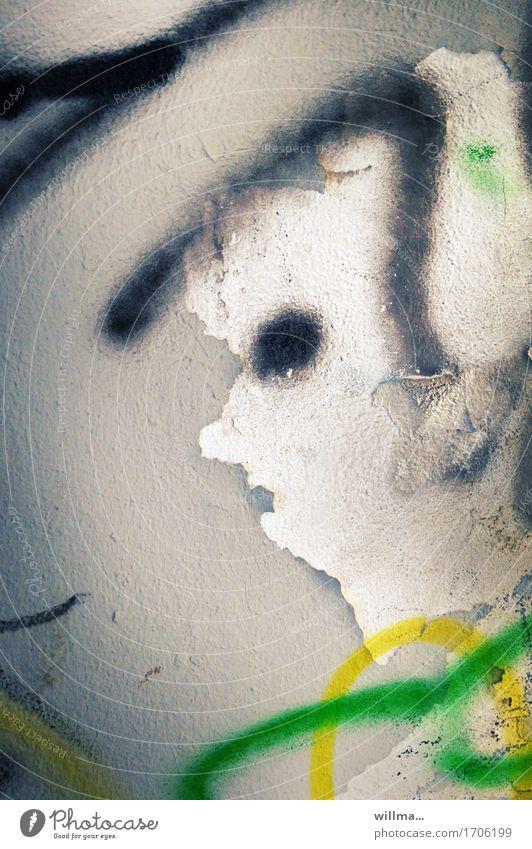 mechthild tlön Subkultur Mauer Wand Graffiti Gesicht Putz Phantasie Kunst Surrealismus Farbfoto Außenaufnahme abstrakt