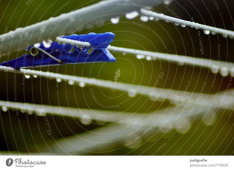 Trockner, nass blau Regen Wetter Wassertropfen nass Häusliches Leben hängen Klammer schlechtes Wetter Wäscheklammern Wäschetrockner Wäscheständer