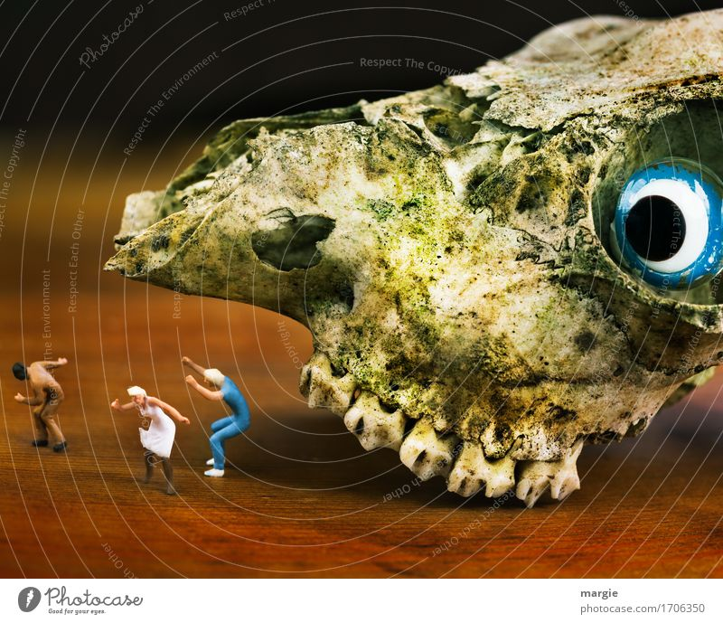 Miniwelten - Ungeheuer Mensch maskulin feminin Frau Erwachsene Mann 3 Tier Tiergesicht 1 blau braun Entsetzen Todesangst verstört Flucht Auge rennen Laufsport