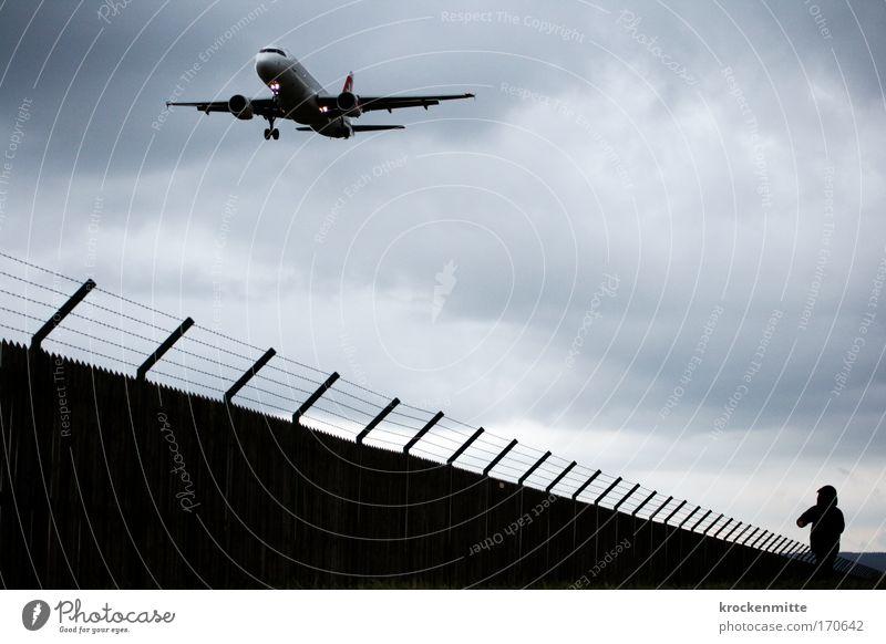Hase und Igel Mensch Kind Ferien & Urlaub & Reisen Junge Kindheit fliegen laufen maskulin Verkehr Flugzeug Luftverkehr Fluggerät Flugzeugstart Zaun Flughafen