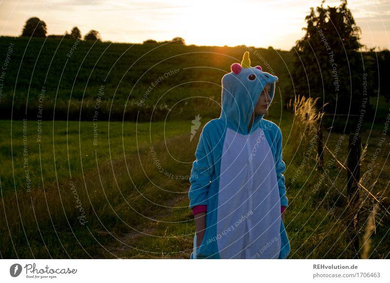 flauschiges   Einhorn Karneval Mensch feminin Junge Frau Jugendliche 1 18-30 Jahre Erwachsene Umwelt Natur Landschaft Wiese Feld Wege & Pfade beobachten träumen