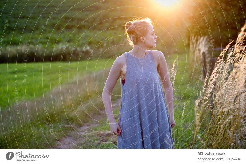 Alexa | im Abendlicht Mensch feminin Junge Frau Jugendliche 1 18-30 Jahre Erwachsene Umwelt Natur Landschaft Sonne Sommer Schönes Wetter Gras Wiese Feld Kleid