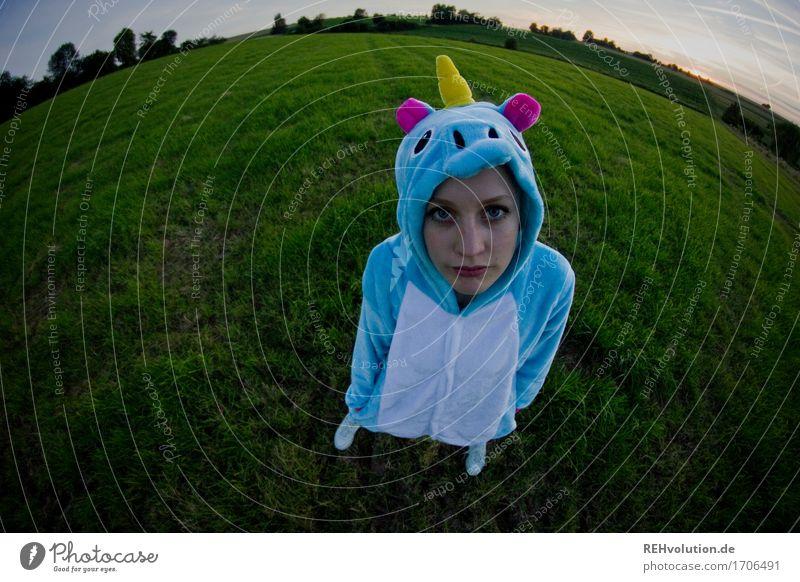 künstlich | Einhorn Mensch Natur Jugendliche Landschaft 18-30 Jahre Erwachsene Umwelt Wiese lustig feminin Feld stehen verrückt warten Anzug Kostüm