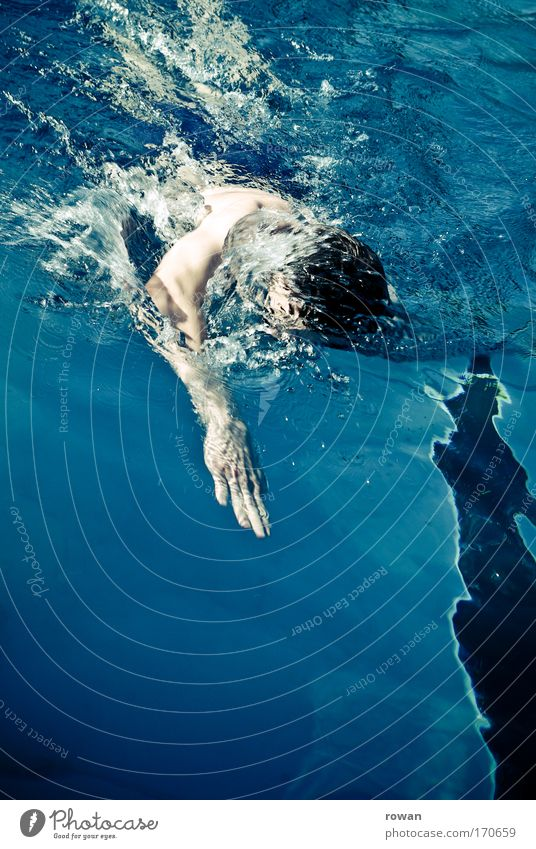 zieh! Mensch blau kalt Sport Gesundheit Schwimmen & Baden maskulin Schwimmbad Fitness sportlich Konkurrenz Ausdauer Schwimmsport Kraulstil schwimmen Junger Mann
