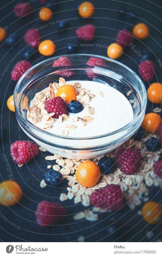 Lecker Beeren Lebensmittel Joghurt Milcherzeugnisse Frucht Getreide Schalen & Schüsseln Gesundheit Gesunde Ernährung lecker natürlich süß blau orange rot Diät