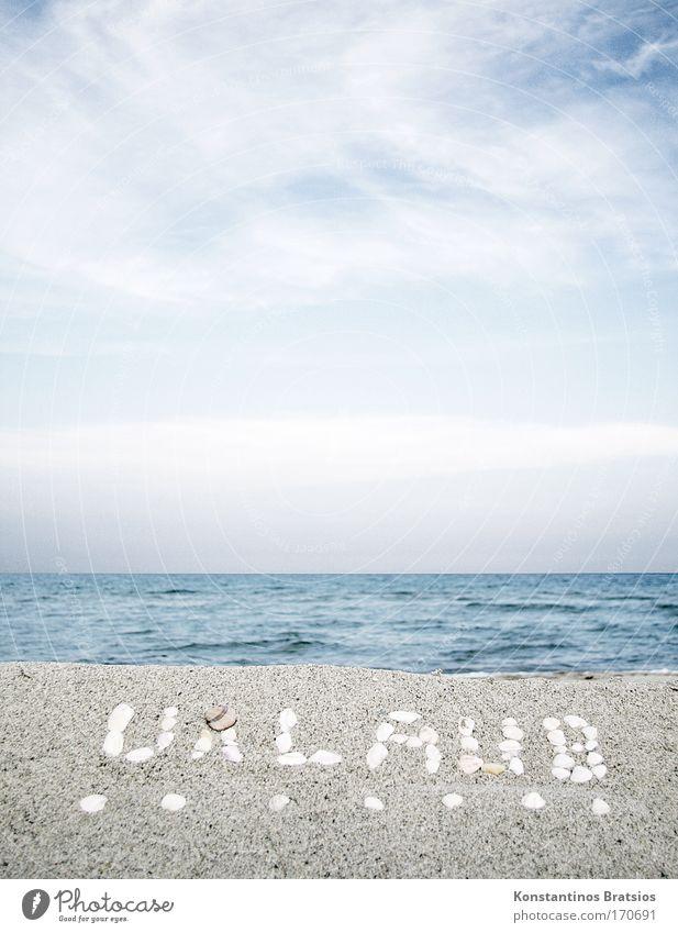 wie wärs mit ...... Himmel Meer Strand Ferien & Urlaub & Reisen ruhig Wolken Erholung Wärme Sand hell Wellen Horizont Tourismus Schriftzeichen Kitsch Wunsch