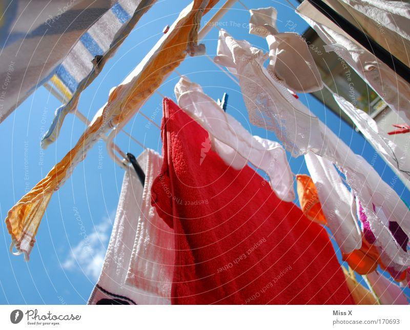 Schlüpfer Farbfoto mehrfarbig Außenaufnahme Nahaufnahme Froschperspektive Himmel Schönes Wetter Wind Bekleidung T-Shirt Rock Strümpfe Unterwäsche hängen frisch