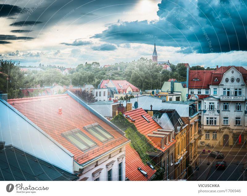 Gewitter über alter Stadt Lifestyle Ferien & Urlaub & Reisen Sommer Natur Himmel Wolken Horizont Frühling Klima schlechtes Wetter Unwetter Skyline bevölkert