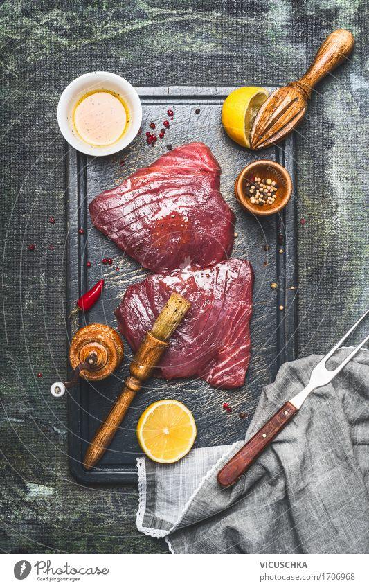 Marinierte Thunfisch Steaks Gesunde Ernährung Stil Lebensmittel Design Tisch Kräuter & Gewürze Fisch Küche kochen & garen Restaurant Vegetarische Ernährung Diät