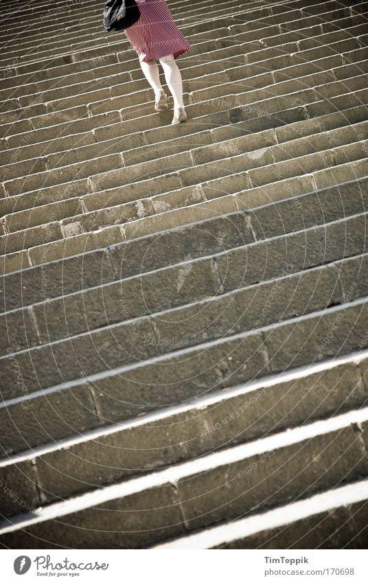The only way is up, baby! Außenaufnahme feminin Junge Frau Jugendliche Erwachsene Beine Wade 18-30 Jahre Treppe dünn schön steigend aufwärts oben hoch