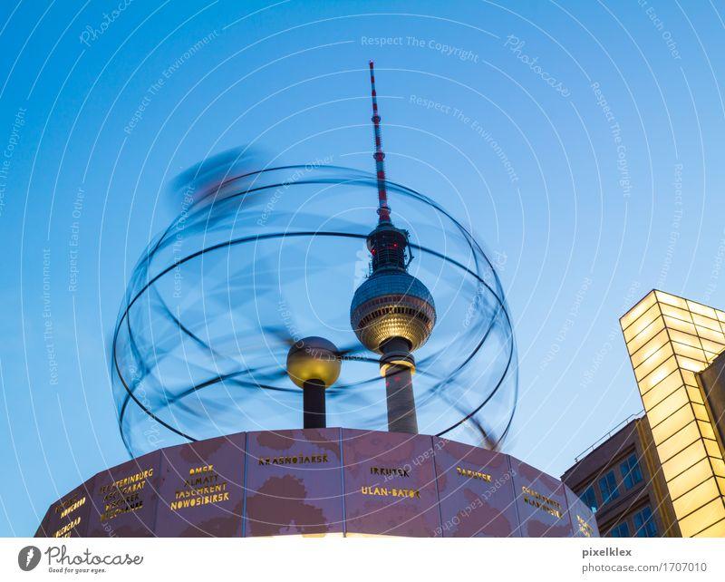Weltzeituhr Ferien & Urlaub & Reisen Stadt Architektur Bewegung Berlin Zeit Deutschland Tourismus Uhr Technik & Technologie retro rund Turm Weltall Bauwerk