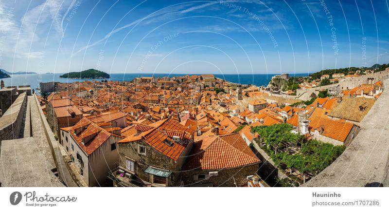 Dubrovnik XV Himmel Ferien & Urlaub & Reisen Pflanze Sommer Meer Haus Fenster Architektur Wand Gebäude Mauer Fassade orange Kirche Insel Schönes Wetter