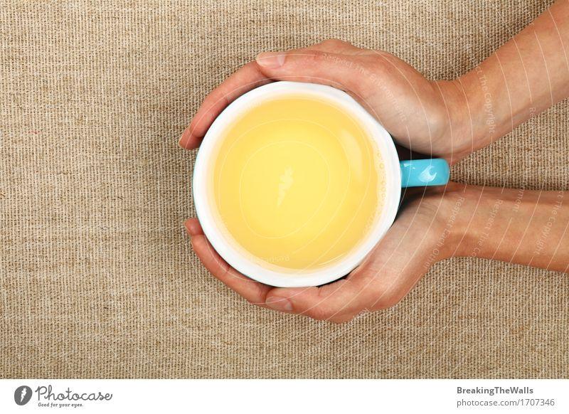 Zwei Frauenhände halten große Schale grüner Tee über Segeltuch Gesunde Ernährung Hand Erholung Freude Erwachsene feminin braun Aussicht genießen Warmherzigkeit