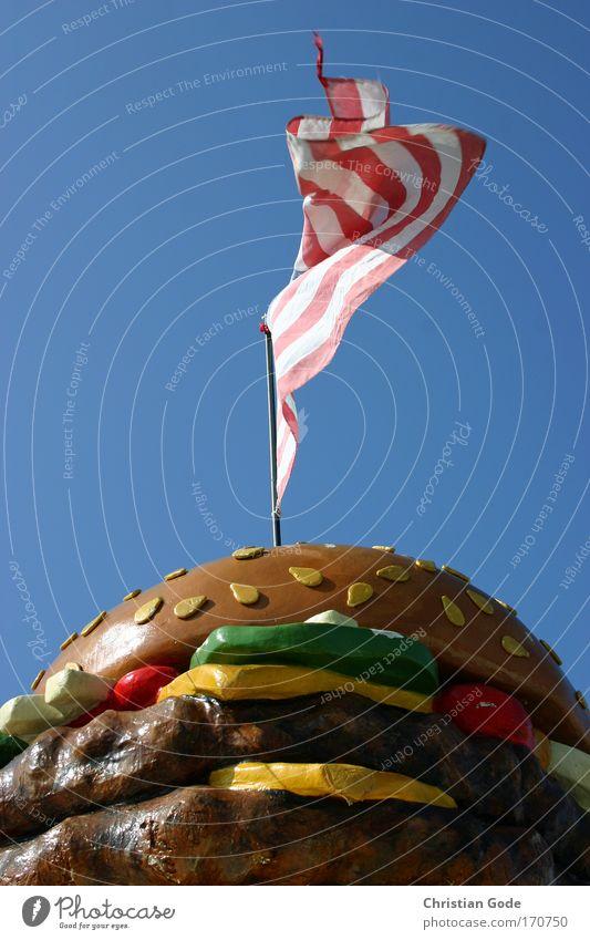 USA Menschenleer blau Fahne Fahnenmast Amerika Nationalflagge Amerikaner Hamburger Salat Werbung Streifen Stars and Stripes Himmel himmelblau Froschperspektive