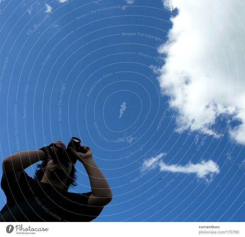 wolkenwolf Himmel Sommer schwarz Wolken Tier Luft Wetter Schönes Wetter Blauer Himmel schwarzhaarig Dreitagebart Streichelzoo