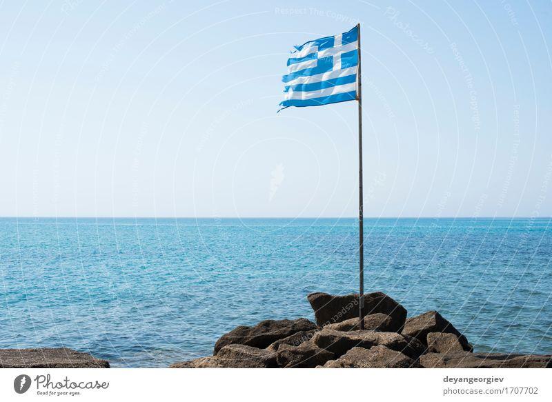 Griechische Flagge am Strand Himmel Ferien & Urlaub & Reisen blau Sommer weiß Meer Landschaft Tourismus Wind Europa Insel Symbole & Metaphern Fahne Europäer