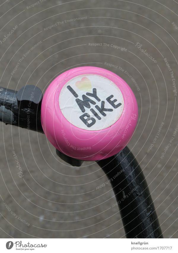 I LOVE MY BIKE Lifestyle Freizeit & Hobby Fahrrad Fahrradklingel Schriftzeichen Schilder & Markierungen Kommunizieren Fröhlichkeit trendy schön einzigartig rund