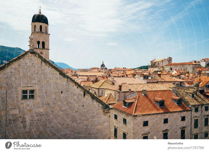 Dubrovnik Vl Himmel Ferien & Urlaub & Reisen Stadt Sommer rot Wolken Haus Fenster Berge u. Gebirge Architektur Wand Gebäude Mauer Stein Sand Fassade