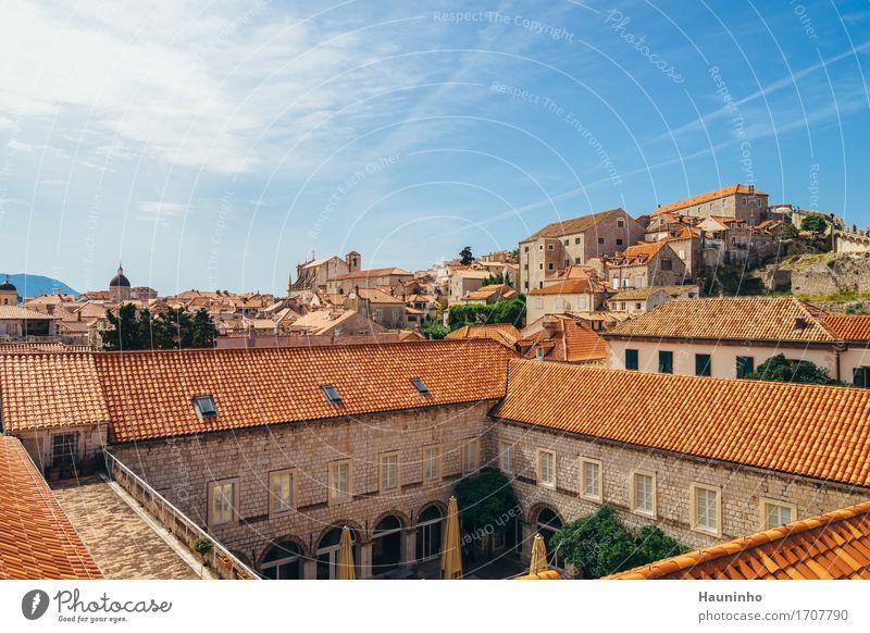 Dubrovnik V Himmel Ferien & Urlaub & Reisen Stadt Pflanze Sommer Wolken Haus Architektur Wand Gebäude Mauer Fassade Tourismus Wohnung Treppe Kirche