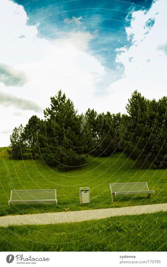 Hinsetzen - Wohlfühlen Himmel Natur Baum Ferien & Urlaub & Reisen Einsamkeit ruhig Erholung Umwelt Landschaft Leben Wiese Gefühle Bewegung Gras Wege & Pfade