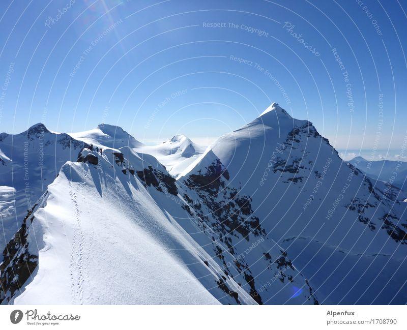 Stairway to Heaven III Klettern Bergsteigen Bergsteiger Umwelt Natur Landschaft Wolkenloser Himmel Schönes Wetter Eis Frost Schnee Felsen Alpen Berge u. Gebirge