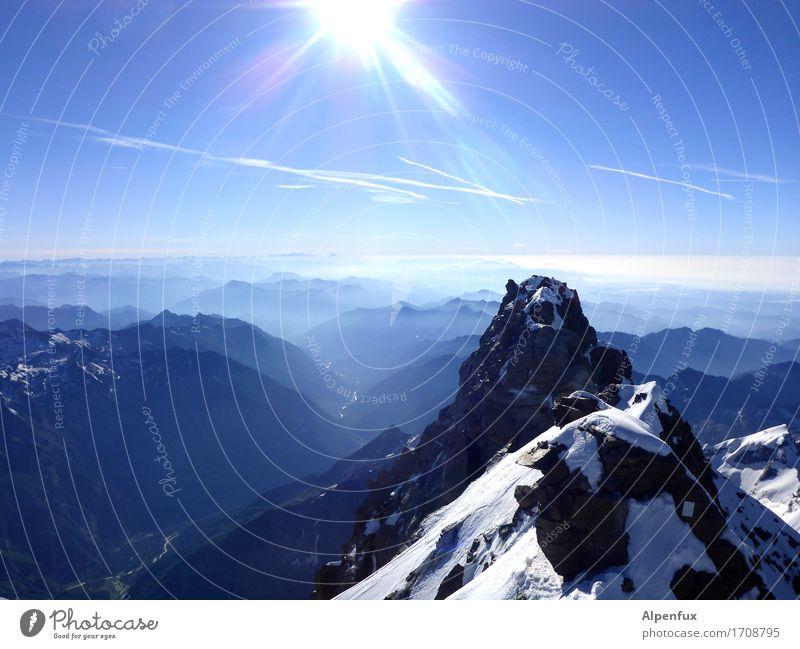 Piemont-Kirsche Klettern Bergsteigen Bergsteiger Seilschaft Umwelt Natur Landschaft Wolkenloser Himmel Schönes Wetter Hügel Felsen Alpen Berge u. Gebirge
