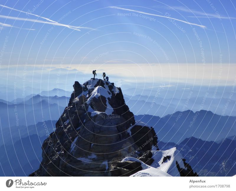 Top of swiss Klettern Bergsteigen Bergsteiger Umwelt Natur Landschaft Schönes Wetter Schnee Hügel Felsen Alpen Berge u. Gebirge Monte Rosa Dufourspitze Gipfel