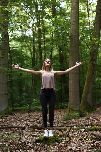 Karma Leben harmonisch Meditation Junge Frau Jugendliche 18-30 Jahre Erwachsene Natur Schönes Wetter Baum Wald Jeanshose Top Turnschuh blond langhaarig Gebet