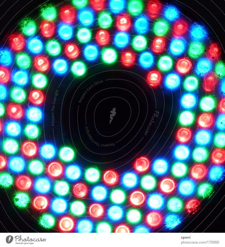 L-E-D Farbfoto mehrfarbig Experiment Muster Textfreiraum Mitte Kunstlicht Licht Gegenlicht Lampe Leuchtdiode Kreis blenden Anordnung leuchten rund verrückt blau